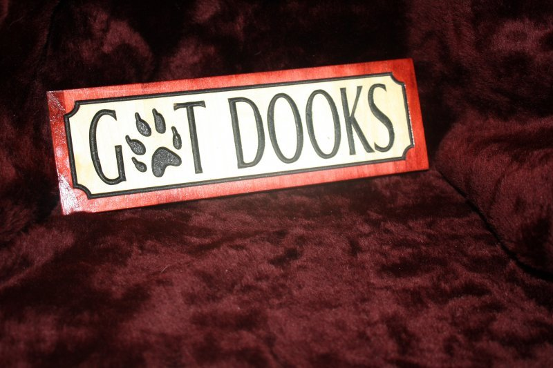 "28 ""got dooks"" wooden sign"