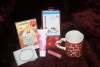 71. Greeting cards, sewing kit, mug