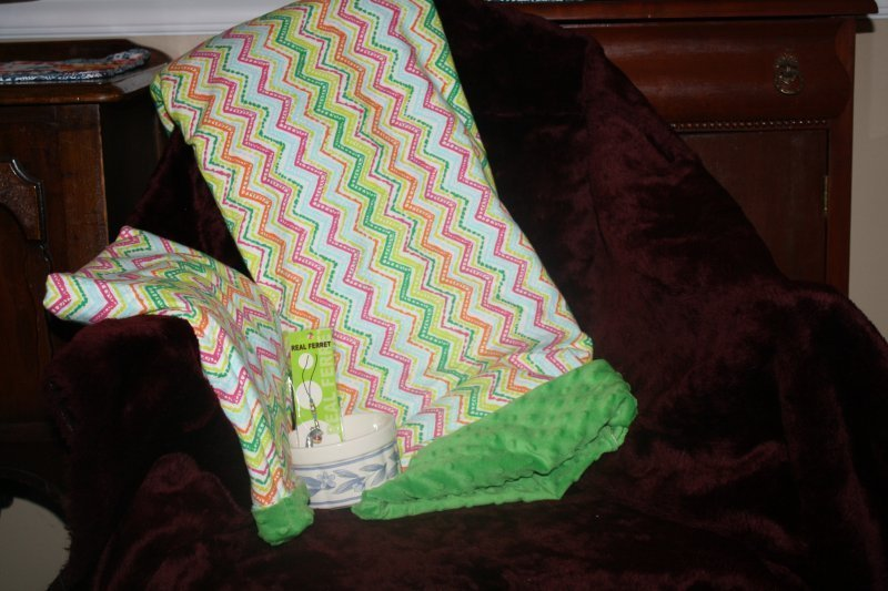 319. Green stripes bedding w/food