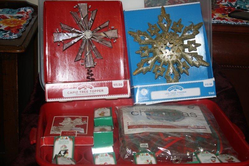 226. Christmas bulb holder w/goodies