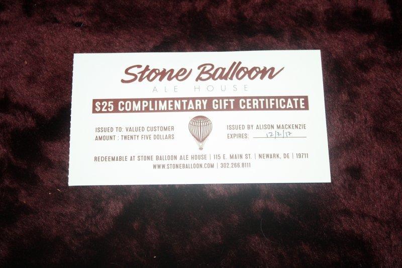 228. Stone Balloon ale house $25 gc