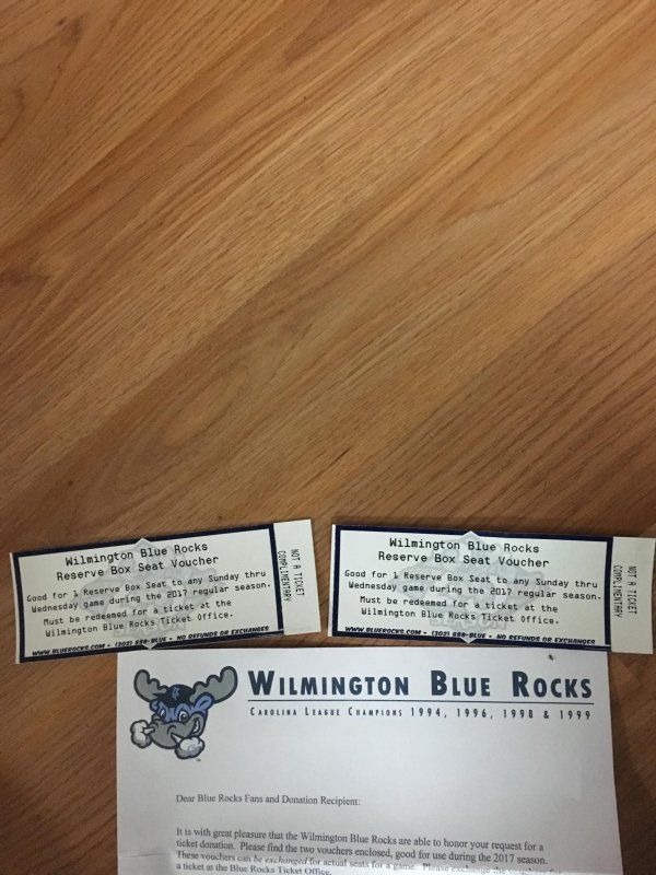 232. Blue Rocks (2) tickets Sun-Wed box seats