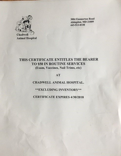 238. $50 Chadwell Animal Hospital Services(exams and vaccines only) donated by Chadwell Animal Hospital 238.